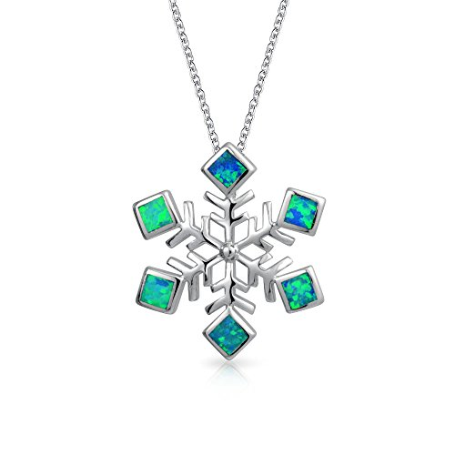 Winter Holiday Snowflake Pendant Necklace For Women Inlaid Blue Green Created Opal 925 Sterling Silver 16 Inch Chain (Opal Square Charm)