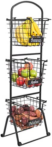 BIRDROCK HOME 3-Tier Wire Market Basket Stand with Chalk Label - Fruit Vegetable Produce Metal Hanging Storage Bin for Kitchen - Free-Standing or Stacking Organizer - Black