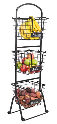 BIRDROCK HOME 3-Tier Wire Market Basket Stand with Chalk Label | Fruit Vegetable Produce Metal Hanging Storage Bin for Kitchen | Free-Standing or Stacking Organizer | Black