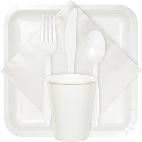 Creative Converting Touch of Color Heavy Duty 24 Count Plastic Cutlery Assortment Set, Includes Fork/Spoon/Knife, White