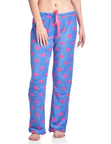 Heart Fleece Pants Pajama (Casual Nights Women's Plush Microfleece Pajama Lounge Pants - Blue Hearts - Medium)