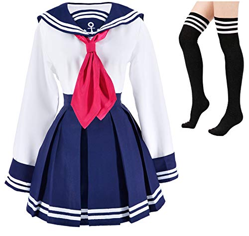Japanese School Girls Classic Collection Sailor Dress Shirts Uniform Anime Cosplay Costumes with Socks Set(SSF17) XXL Navy and White