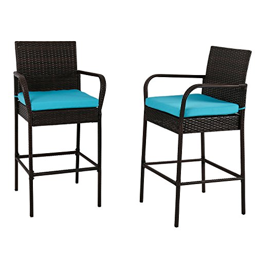 Kinbor Outdoor 2 Pcs Outdoor Bar Height Chair Set Patio Wicker Rattan Counter Dining Desk Bar Stool High Chairs With Cushions,Blue 2 Rattan Bar Stools