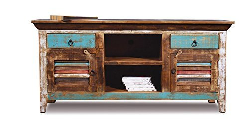 Solid Credenza Wood Bookcase - Distressed Reclaimed Solid Wood Credenza / Tv Stand