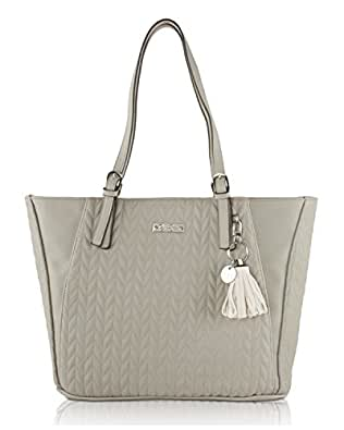 Jessica Simpson Womens Cynthia Faux Leather Quilted Tote Handbag Gray Large