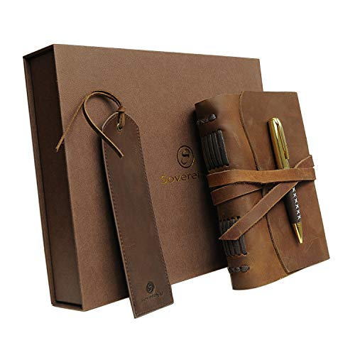 Leather Journal Gift Set with Antique Leather Bookmark + Pen, Handmade Writing Notebook 7x5 inches Unlined Leather Bound Daily Notepad for Men & Women, Best Luxury Gift Box Travel Diary for All Ages by Sovereign-Gear