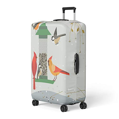 Semtomn Luggage Cover Cute Birds Red Northern Cardinal Chickadee Robin Comic Cartoon Travel Suitcase Cover Protector Baggage Case Fits 26-28 Inch
