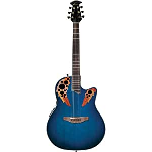 ovation celebrity deluxe cc48 acoustic electric guitar blue transparent musical. Black Bedroom Furniture Sets. Home Design Ideas