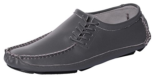 - CAIHEE Men's Leather Loafers Driving Shoes Moccasins with Lace-up Details (8 D(M) US, Grey-1)