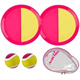 Babe Fairy Catch Ball Toss Game Set 2 Paddle,2 Balls 1 Storage Bag Kids & Adults, Outdoor Indoor (Rose/Yellow)