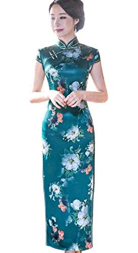 Coolred-femmes Épaule De Chapeau De Fente Côté Floral Bleu Marine Robe Longue Cheongsam