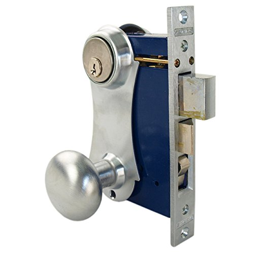 (Marks 21AC/26D-W Left Hand Reverse Double Cylinder Entry Uni-Lock Knob/Plate Mortise Lockset For Iron Gate Doors)