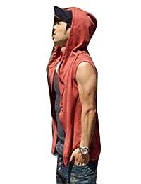 pujingge-CA Men Beach Sport Athletic Hoody Sleeveless T-Shirt Vest Tops