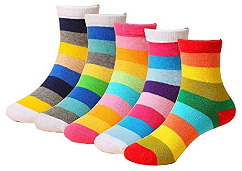 5-Pack Childrens Rainbow Colourful Socks 1-12 Years