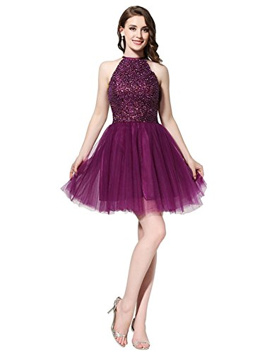 New Short Prom Dresses 2018 with Beaded Pearls Sequined Halter Neck Mini A Line Party Dresses HFY137 Purple-US4 (Sequined Neck)