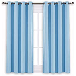 """NICETOWN Blue Bedroom Blackout Curtains - Functional Blackout Draperies and Drapes Window Panels, Thermal Insulated, 52"""" x 45"""", Set of 2 Panels, Blue"""