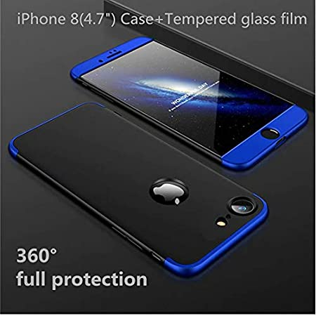 5.5 Azul Vidrio Templado Funda iPhone 8 Plus Cubierta de 360/°Caja AILZH Protecci/ón de C/áscara Dura Anti-Shock Anti-Rasgu/ño del Protector Completo del Cuerpo 360 Grados Caso Mate