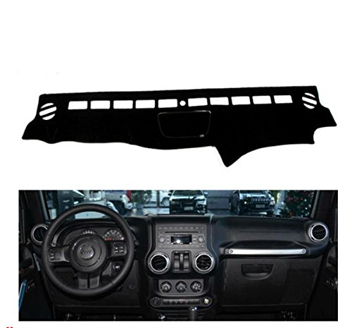 FLY5D Dashboard Cover Dash Mat Pad for Jeep wrangler 2011-2017 years (Jeep wrangler 2011-2017 years, Black)