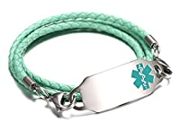 JF.JEWELRY Stainless Steel Tags Medical Alert ID Bracelet for Women with 3 Layers Leather Band,6.7-8.0 inches
