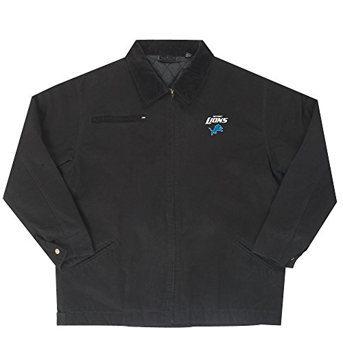 NFL Detroit Lions Tradesman Canvas Quilt Lined Jacket, Black, 5X by Dunbrooke Apparel