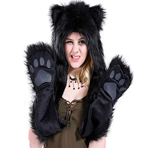 Faux Fur Animal Hood, Hat, Scarf Mittens 3-in-3 Function Furry Hoodie with Paws Ears (Black Bear) -