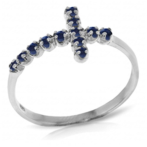 ALARRI 0.3 CTW 14K Solid White Gold Cross Ring Natural Sapphire With Ring Size 6 by ALARRI