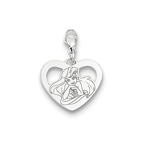 (Roy Rose Jewelry Sterling Silver Disney Ariel Heart Lobster Clasp Charm Necklace Complete with Chain)