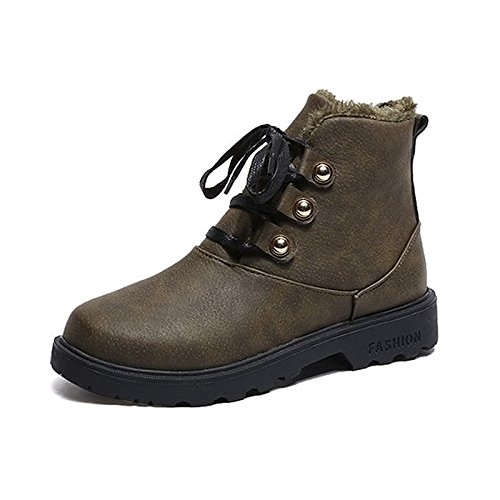 Women's Boots for Army Toe Boots Grey Shoes HSXZ Black Outdoor Dark Brown Combat Black Round Heel Rubber Green Winter Chunky ZHZNVX gY5q71