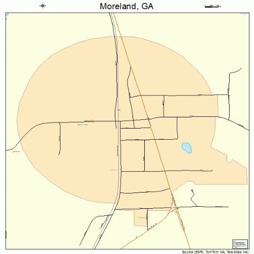 Large Street & Road Map of Moreland, Georgia GA - Printed poster size wall atlas of your home - Moreland Road