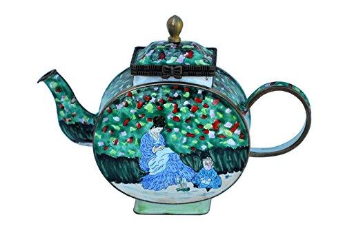 Kelvin Chen Enameled Miniature Tea Pot - Camille Monet & Child