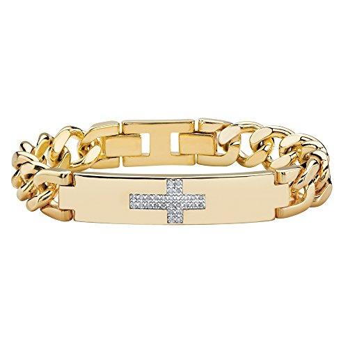 Palm Beach Jewelry Men's White Diamond 14k Gold-Plated Horizontal Cross Curb-Link Bracelet 9