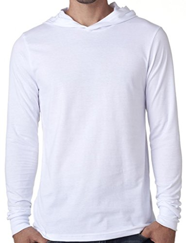 Mens Lightweight Long Sleeve Hoodie Tee Shirt, Small (Cotton Hooded Sport Shirt)