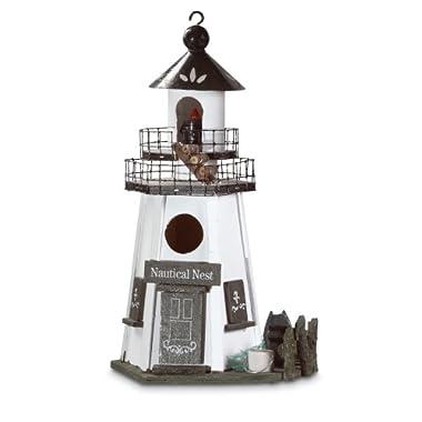 Gifts & Decor Nautical Nest Wood Lighthouse Bird House