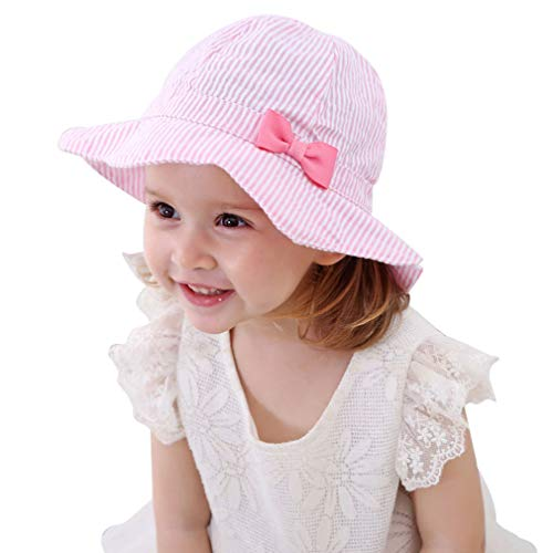 Baby Girl Floppy Sun Hat Breathable Infant Toddler Striped Bow Summer Cotton Cap UPF 50+ Sun Protection ()