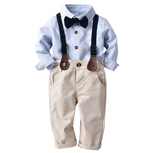 Toddler Kids Boys Gentlemen Suit Stripe Long Sleeve Bow Tie Shirt Suspender Pants Outfits Set (Blue, 3T-4T)