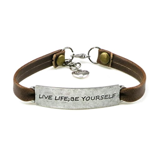 Leather Religious - Yiyang Motivational Bracelets for Grils Inspirational Quote Engraved Leather Bracelet Lifr Jewelry Gift for Women