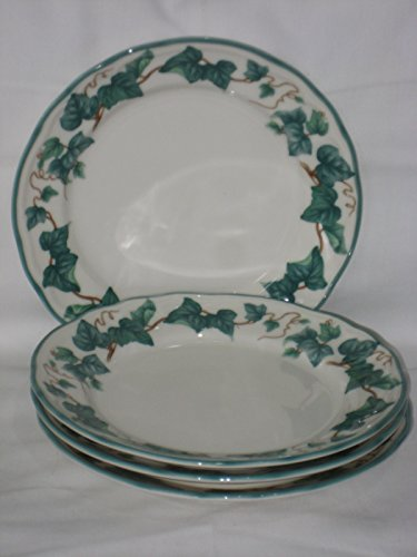 - 4 PIECE SET - Epoch Collection Porcelain Climbing Ivy Pattern 7 1/2 Inch Bread / Salad Plate