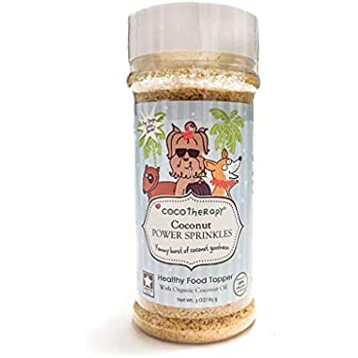 CocoTherapy Coconut Power Sprinkles Dog Food Topper, 3 Ounces, with Organic Coconut Oil, Made in The USA