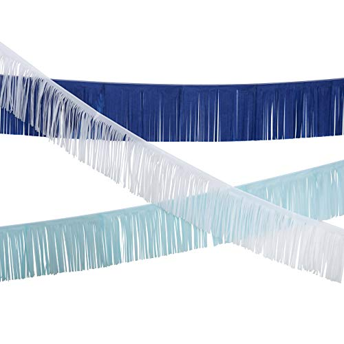 Fonder Mols Tissue Fringe Garland Party Backdrop Curtains for Photography,Baby Shower, First Birthday for Boy, Sea Wedding Shower Decorations (White+Blue+Navy, Set of 3)]()