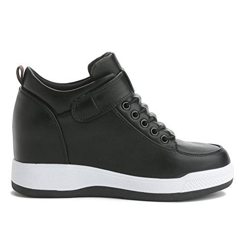 LA Nago Damenschuhe KeilabsatzSneaker Klettverschluss Bequem Schuhe mit Absatz Plateau tVU3BnY
