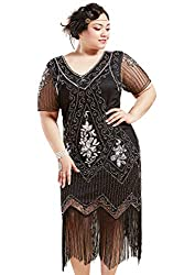 Black & Silver 1920s Sequin Art Plus Size Dress with Sleeve