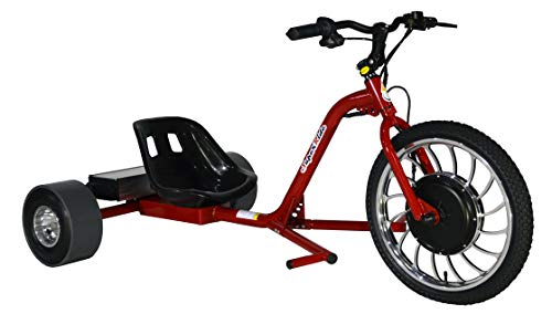 Superride 1000Watts Electric Drift Trike   Brush-Less Motor, High Carbon Steel Frame, Front Hydraulic Brake & Tubeless Tires (RED) (Adult Drift Trike With Motor)