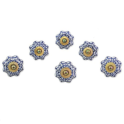 NOVICA Floral Ceramic Brass Cabinet Knobs, White, Radiant Blue Flowers' (Set of 6, Iron Screws Included) ()