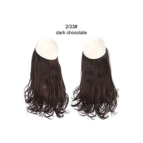 Wave Halo Hair Extensions Invisible Ombre Bayalage Synthetic Natural Flip Hidden Secret Wire Crown Grey Pink,Dark Chocolate,14Inches ()