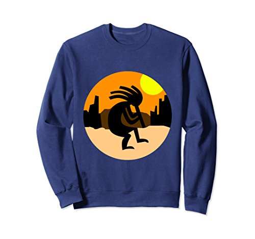 Unisex Kokopelli Native American Sunset Sweatshirt 2XL Navy -