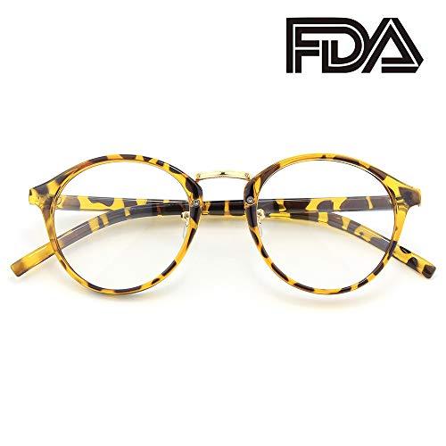 Happy Store CN65 Vintage Inspired Horned Rim Metal Bridge P3 UV400 Clear Lens - Tortoise Shell Glasses