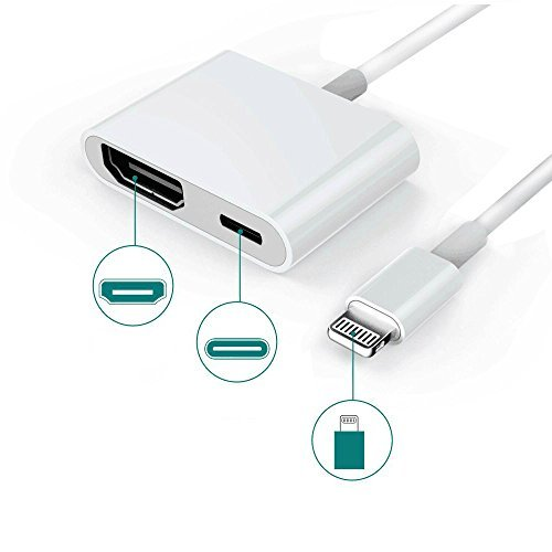 Lightning to HDMI, 1080P Lightning Digital AV Adapter, Lightning to HDMI Connector with Charging Port for iPhone 8/8 Plus/7/7 Plus, Power Supply Needed