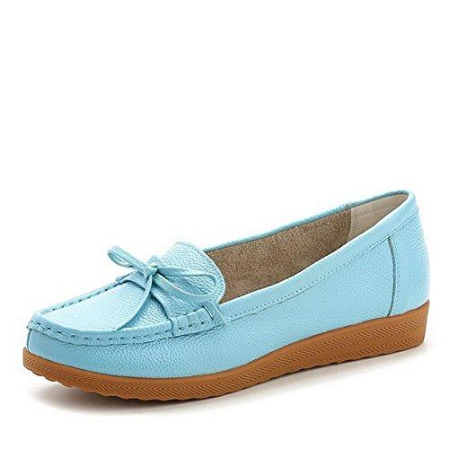VogueZone009 Damen Rund Zehe Ziehen auf Blend-Materialien Rein Niedriger Absatz Pumps Schuhe Blau