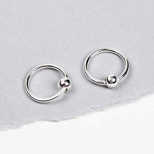 Small Sterling Silver Huggies Ball Hoop Earrings