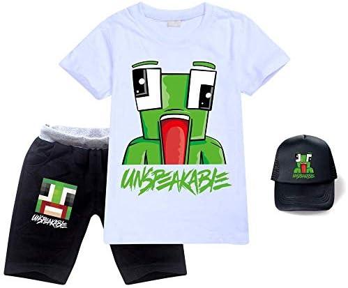 Unspeakable Tshirt voor kinderen uniseks katoen 3delig kort Tshirtkorte broekzonnehoed onuitsprekelijke top voor jongens en meisjes